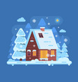 winter mountain log cabin vector image