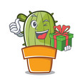 with gift cute cactus character cartoon vector image vector image