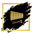 xylophone sign golden icon at black spot vector image vector image