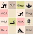 Yoga logos and poses set vector image