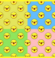 yellow emoji seamless pattern set on a color vector image