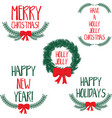 set of winter wreaths with bow and hand drawn vector image