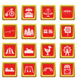 amusement park icons set red vector image vector image