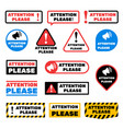 attention please message signs alert vector image vector image