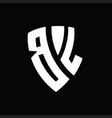 bl logo monogram with shield elements shape vector image vector image