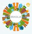 brasilia brazil city skyline with color buildings vector image vector image
