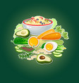 carrot cucumber avocado egg porridge and salad vector image vector image