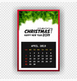 christmas happy new year 2019 calendar april vector image