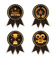 collection rosette award trophy laurel projector vector image
