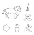 country mongolia outline icons in set collection vector image vector image