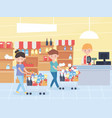 couple with carts in market in cash register vector image