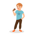 cute boy with sweet icecream cone vector image vector image
