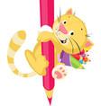 cute kitten holding huge crayons - funny cartoon i vector image vector image