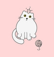 cute kitty white princess and yarn ball vector image vector image