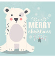 Cute polar bear and Merry Christmas lettering vector image