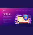 data privacy concept landing page vector image vector image