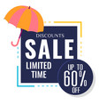 discounts sale limited time up to 60 off umbrella vector image vector image