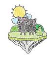 doodle couple raccoon animal in the float island vector image vector image
