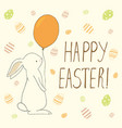 easter greeting card with easter eggs and bunny vector image vector image