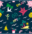 enjoy summer seamless pattern with palms and sails vector image