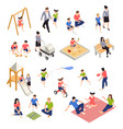 family playing isometric icons set vector image vector image
