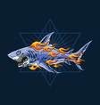 ferocious sharks attack with burning flames vector image