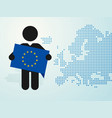 figure man holds eu flag europe map background vector image vector image