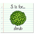 Flashcard letter S is for shrub