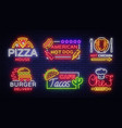 food neon sign collection set neon logos vector image vector image