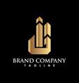 gold unique real estate logo creative concept vector image vector image