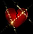 golden chain and broken heart vector image vector image