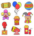 hand draw colorful circus doodle set vector image vector image