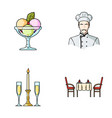 ice cream with fruit chef candle and glasses a vector image