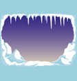ice with icicles and snow vector image vector image