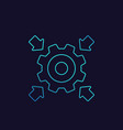 integration icon with cogwheel and arrows linear vector image
