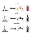 isolated object of oil and gas icon set of oil vector image