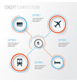 journey icons set collection of mastercard doss vector image vector image