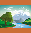 landscape - two swans on a mountain river vector image vector image