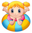 little girl cartoon lay down above an inflatable r vector image