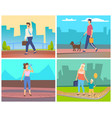 man and woman going in city people leisure vector image vector image