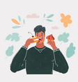 man eating cakecs vector image vector image