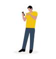 man with a cellphone cartoon flat design vector image vector image