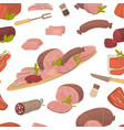 meat food steak and sausages with spice in glass vector image vector image