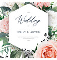 modern floral wedding invite card template card vector image vector image