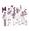 Music group people isolate white ink doodles vector image vector image
