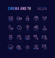 neon linear icons cinema and tv vector image