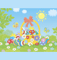 ornate easter basket of painted eggs vector image