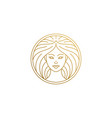 outline female face logo in circle hand drawn with vector image