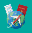 passenger jet boarding pass and passport map vector image vector image
