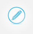 Pencil Icon - abstract blue writer symbol vector image